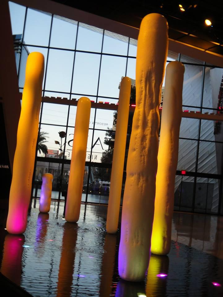 lit pillars