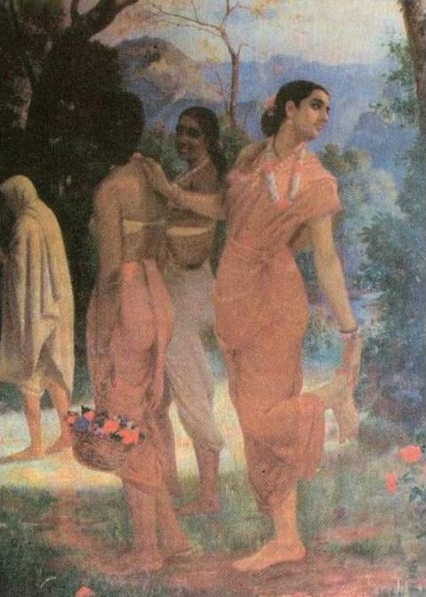 Ravi_Varma-Shakuntala_stops_to_look_back